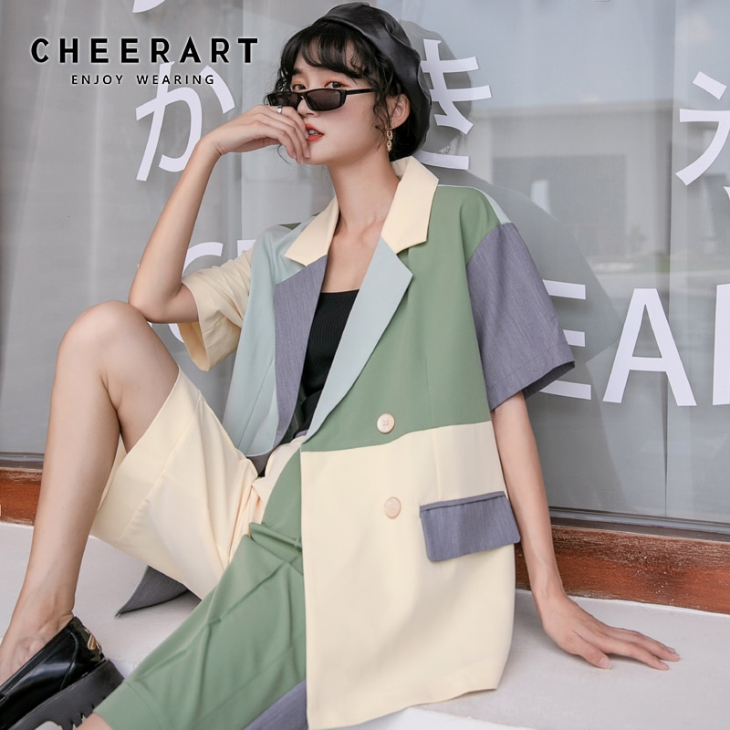 سترة نسائية صيفية ماركة شيرارت كولوربلوك بأكمام قصيرة سترة مصممة على الموضة معاطف وسترات كورية 2020
