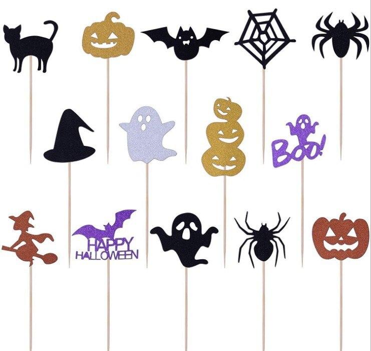 14 piezas de dibujos animados de Halloween Cupcake Topper pasteles banderas superiores para fiestas de ocasión familiar suministros de decoración para hornear