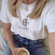 T-shirt estiva a maniche corte Casual da donna in cotone bianco Vintage Rowling T-shirt estiva da uomo moda animale 2021