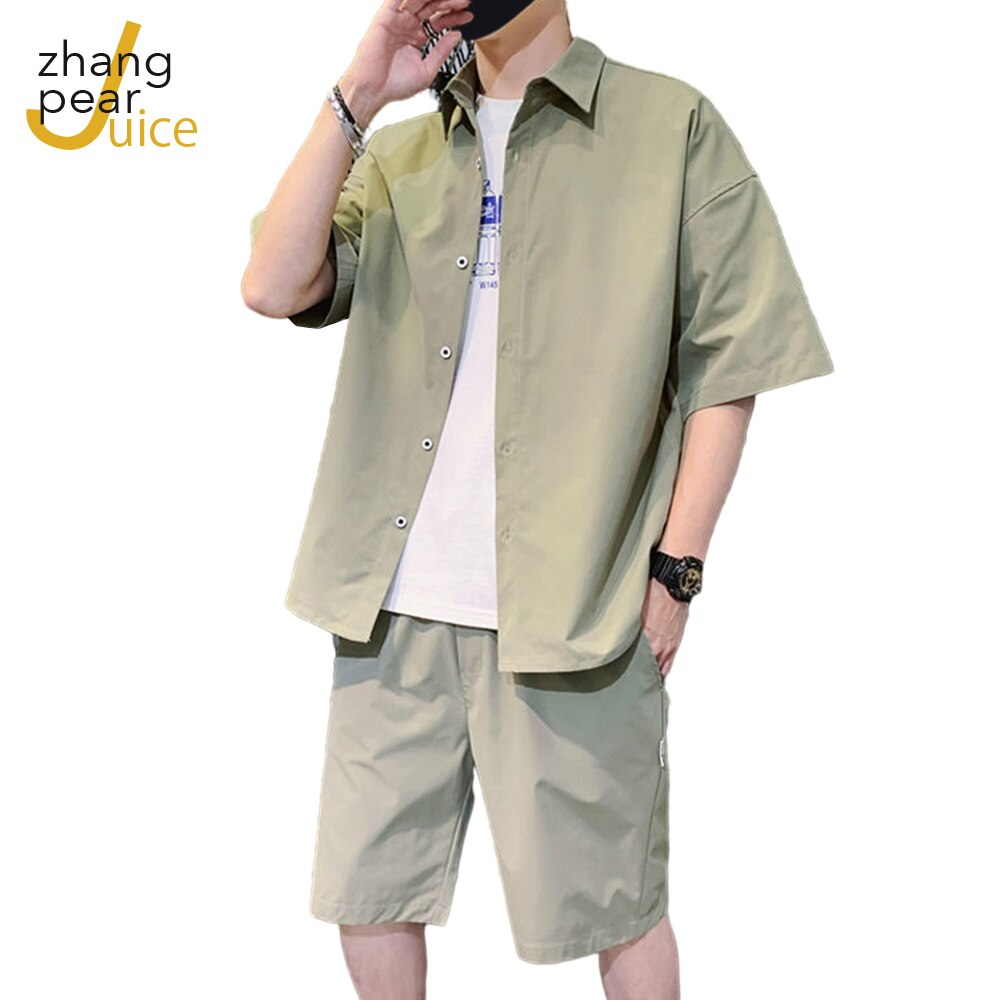 Men Summer Sets Short Sleeve Cardigan Shirts Elastic Shorts Fashion Suits Man Casual Daily  2 Pieces Set