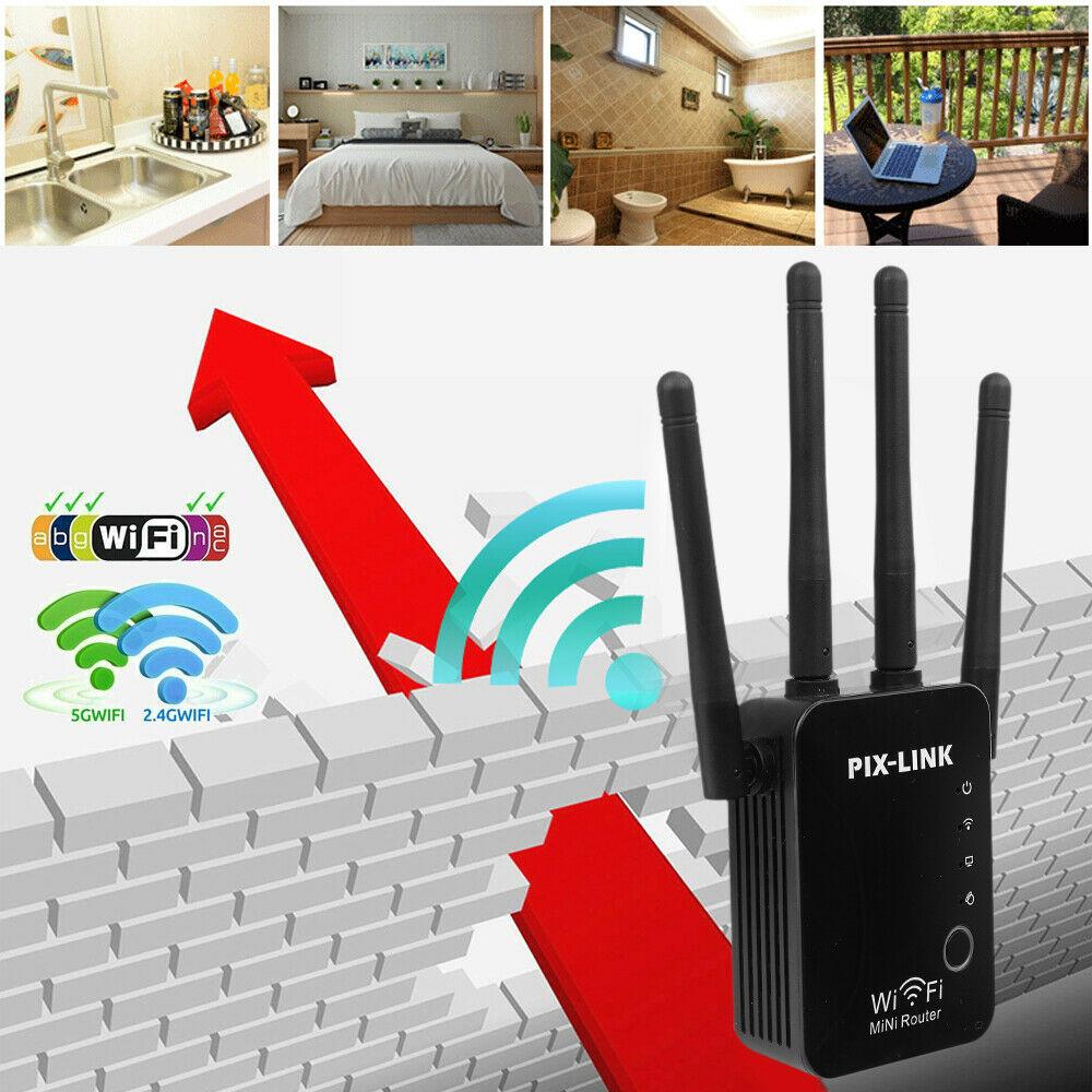 Repetidor WIFI AC1200, enrutador 2,4G y 5G, extensor de rango inalámbrico, potenciador...