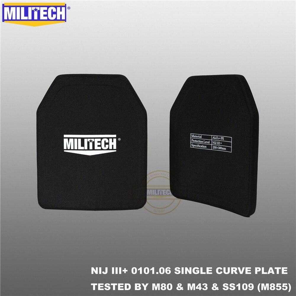 MILITECH שתי חתיכות הרבה 10 x 12 אלומינה & PE NIJ III + פלייט Bulletproof NIJ רמת 3 + Stand לבד AK47 & SS109 & M80 פנלים