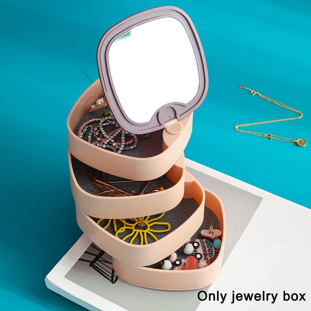 Reloj sencillo de 4 capas, clasificación de joyero con espejo giratorio de 360 grados