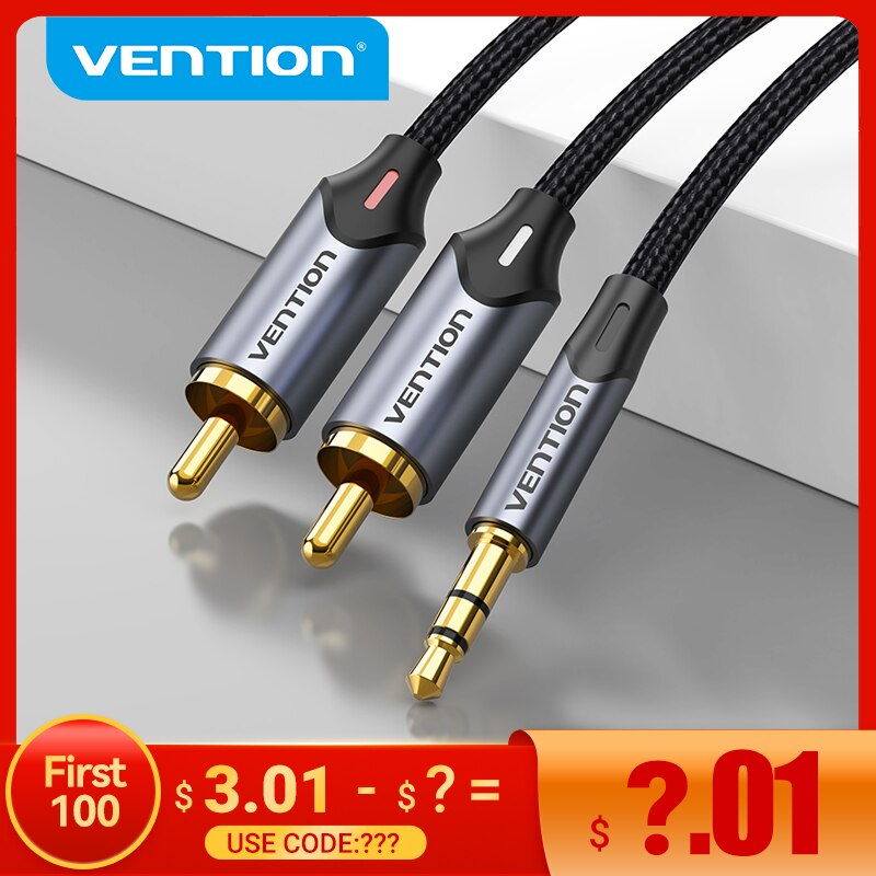Vention RCA Cable 3.5mm to 2RCA Splitter RCA Jack 3.5 Cable RCA Audio Cable for Smartphone Amplifier