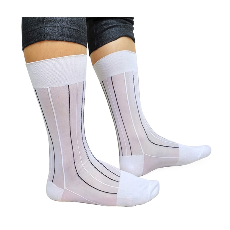 Sexy Fetish Collection Mens Nylon Socks Striped Gay Sheer Softy Comfortable Male Formal Hose Dress Suit Gentlemen peajoa brand striped thin socks for gentlemen nylon silk socks mens sexy soft gay sexy socks fetish collection male sheer socks