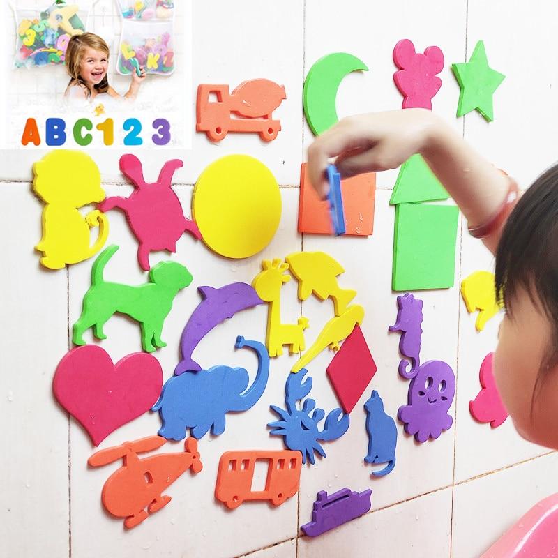 Bathtub Bathroom Toys Animals Alphanumeric Letter Puzzle BathToys EVA Education Learning Foam Fish Water Bathing buble Float Toy