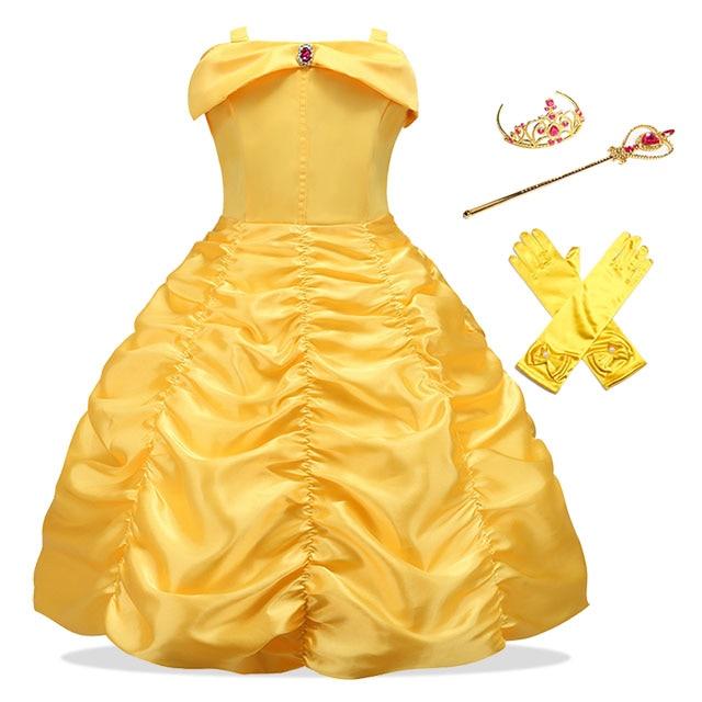 Vestido de dibujos animados para niñas, vestido de fantasía amarillo sin hombros para niños, Cosplay de Bella Bestia, disfraces de princesa, vestido de fiesta para niñas