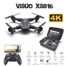 Visuo XS816 Drone 50 kez Zoom WiFi FPV 4K çift kamera optik akış Quadcopter katlanabilir Selfie Dron VS SG106