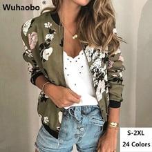 Wuhaobo Fashion Retro Floral Print Women Coat Casual Zipper Up Bomber Jacket Ladies Casual Autumn Outwear Coats Women Clothing