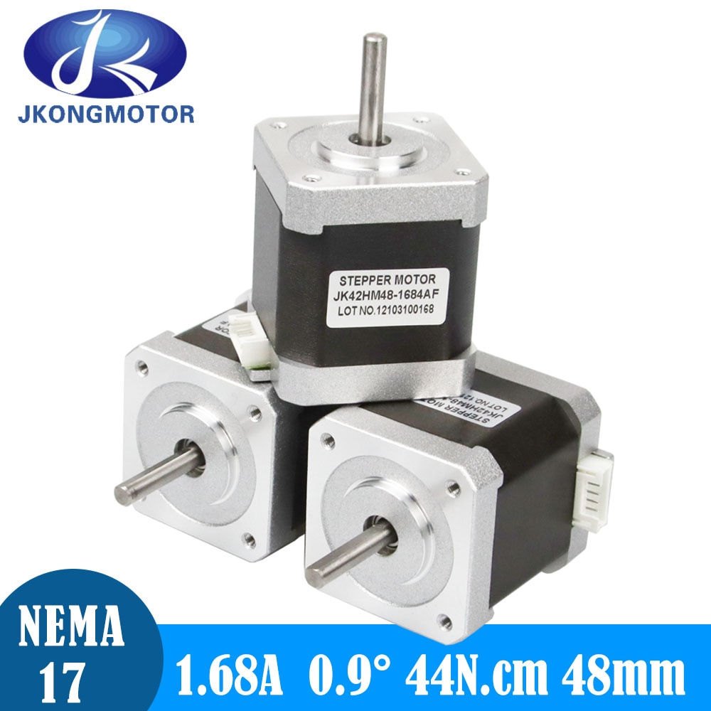 Jkongmotor-محرك متدرج Nema17 لطابعة CNC ثلاثية الأبعاد ، 0.9deg Nema 17 ، محرك 48 مللي متر 42 ، عمود D كامل ، 4 رؤوس 1.68A
