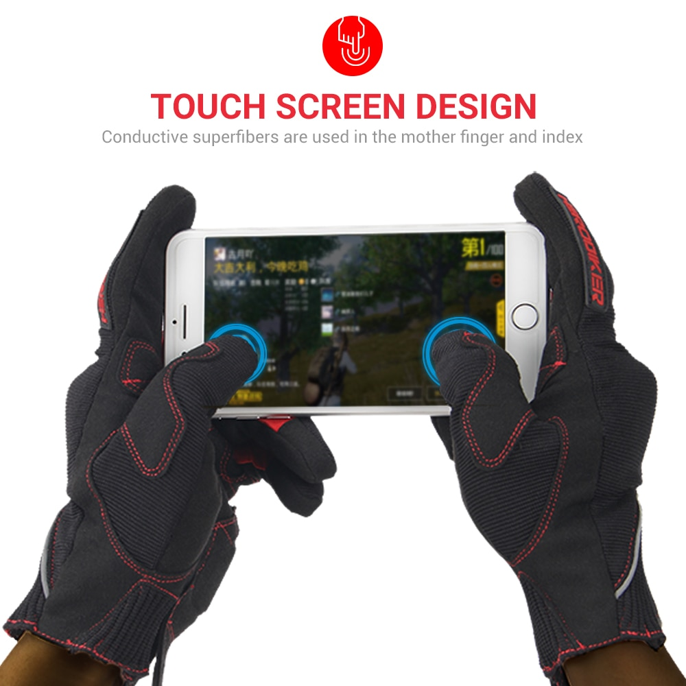 Motorcycle Gloves Summer Motocross Riding Gloves Racing Touch Screen Full Finger Motorbike Gloves Red Breathable Guantes enlarge