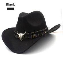 Ethnische Stil Cowboy Hut Mode Chic Unisex Einfarbig Jazz Hut Mit Bull Shaped Decor Western Cowboy Hüte