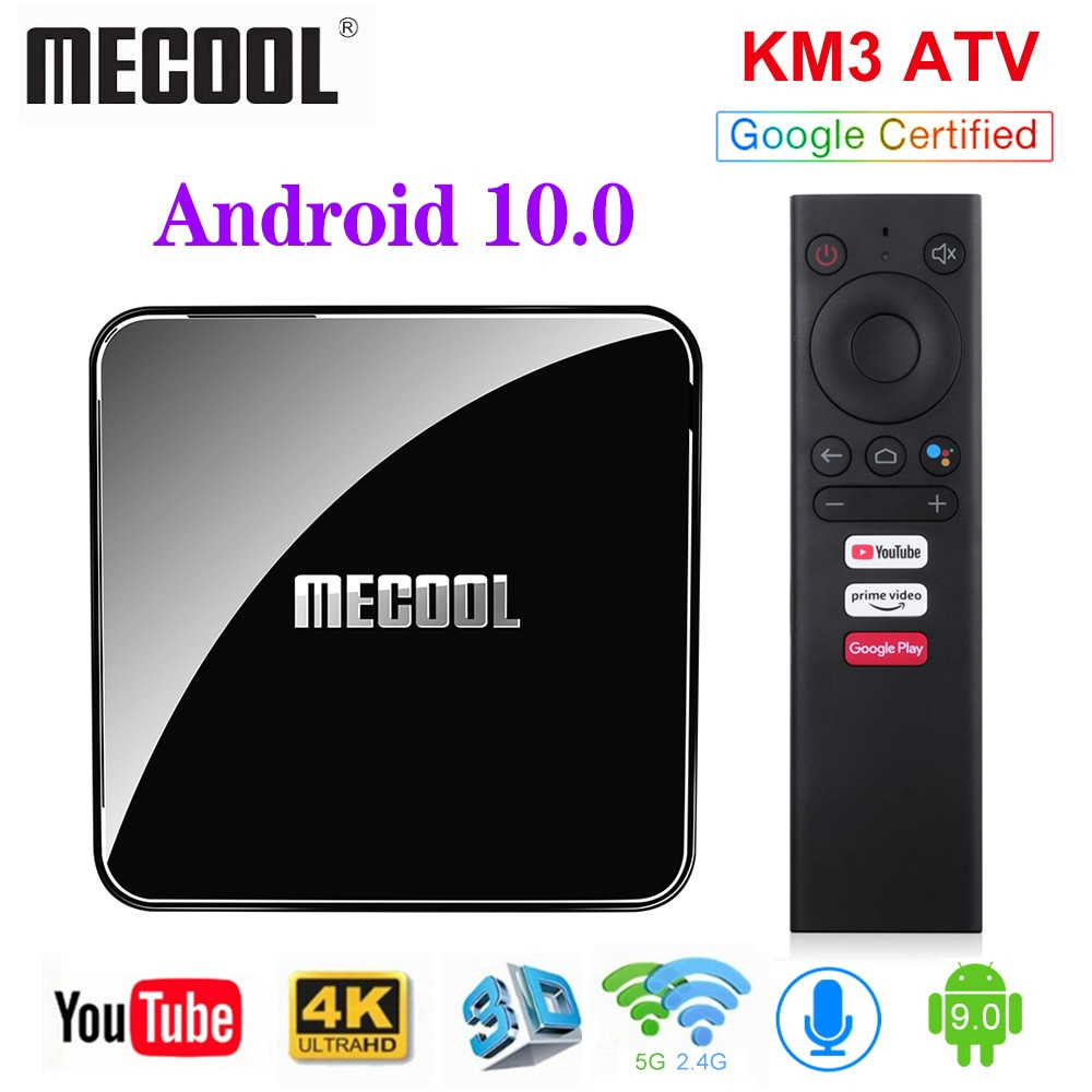 MECOOL KM3 ATV Androidtv Google Certified TV Box Android 10 4GB 64GB Android 9.0 KM9 PRO 4GB 32GB 2G