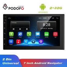 Podofo-Autoradio Android 2 Din   Lecteur vidéo multimédia, universel, Auto stéréo GPS, carte 2G + 32G, Support dautoradio, caméra de vue arrière
