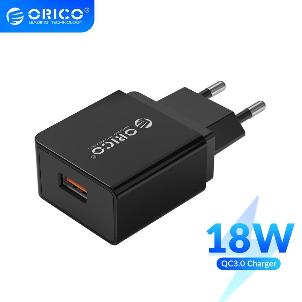 ORICO QC 3,0 USB Ladegerät 18W QC 3,0 USB Ladegerät EU Stecker für Xiaomi iPhone Samsung Huawei Telefon Ladegerät