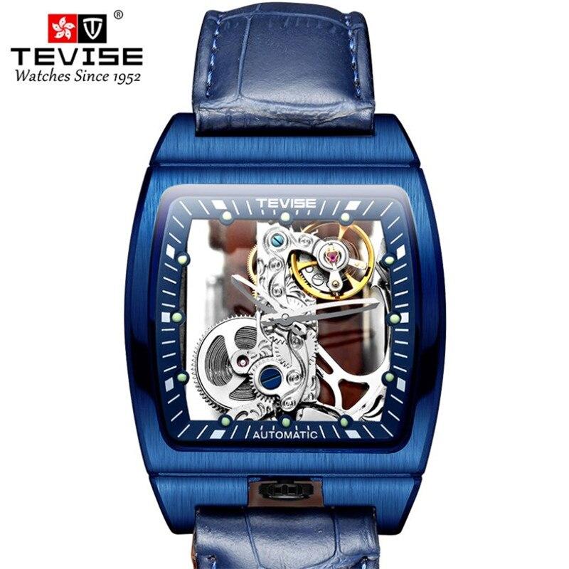 TEVISE, relojes mecánicos de esqueleto a la moda para hombre, reloj azul luminoso Vintage, reloj automático en forma de barril, resistente al agua hasta 30M