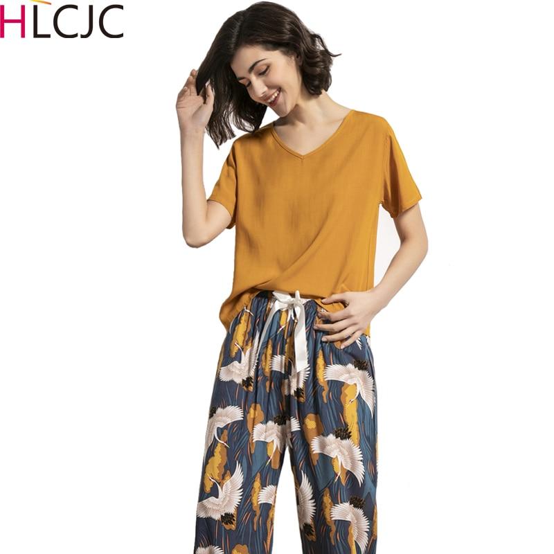 Gran oferta 2020 de pijamas de algodón para mujer de verano, conjunto de pijamas de manga corta + Pantalones largos, ropa interior, Pijama adorable, Pijama