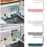 telescopic sink kitchen drainer rack rack adjustable soap songe dish drainer storage basket bathroom kitchen sink accessories