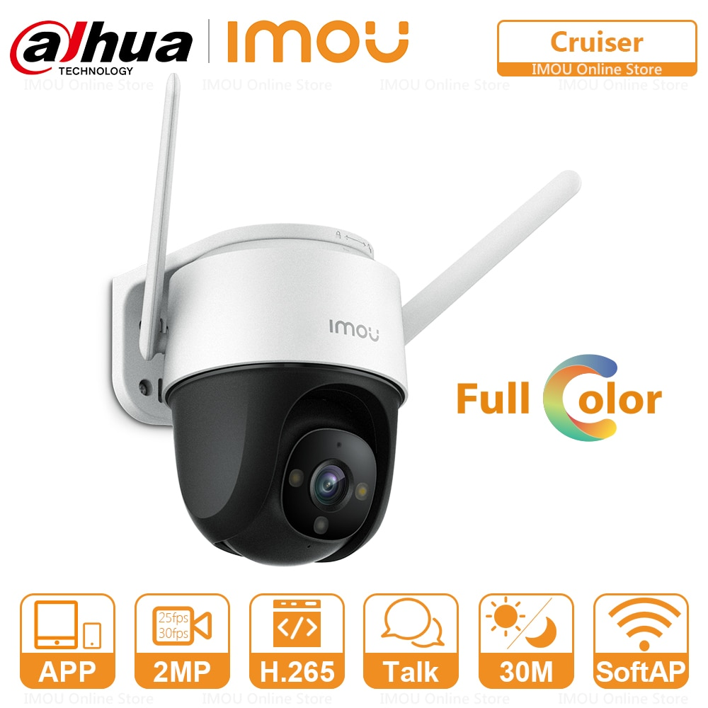 Dahua Imou Outdoor Full-Color PTZ IP Camera Cruiser IP66 Weatherproof Two-Way Talk Built-in Wifi 360°Coverage Support ONVIF