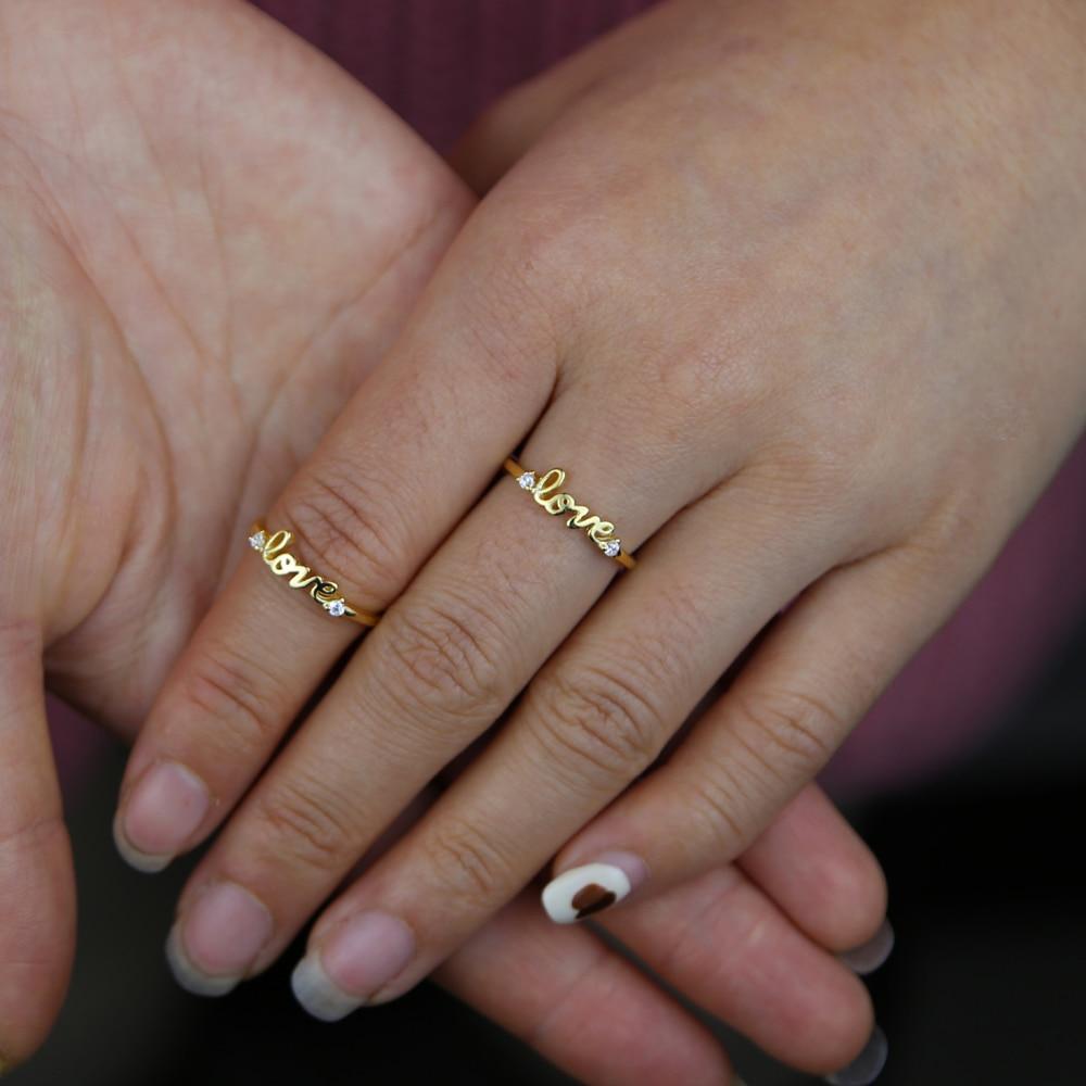 Позолоченные 925 пробы серебро любовное письмо кольцо минимальные тонкие небольшие перстни
