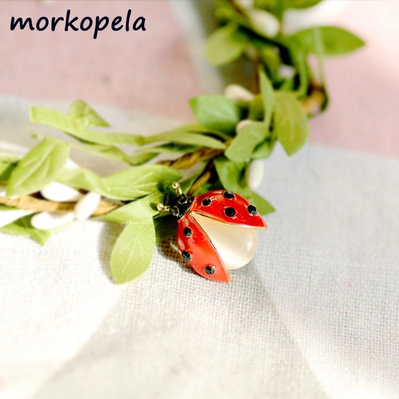 Fashion Ladybug Enamel Pin Rhinestone Insect Bug Brooches Small Collar Brooch Broach Women Men Pin Jewelry Scarf Clip