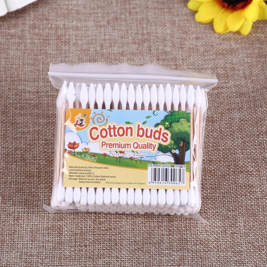 HOT 100Pcs/Packs Women Beauty Makeup 100% Cotton Swab Cotton Buds Make Up Double-head Wood Sticks Ea