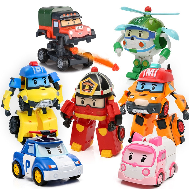 4pcs/6pcs Robocar Korea Robot Kids Toys Transformation Anime Action Figure Super Wings Poli Toys For Children Playmobil Juguetes