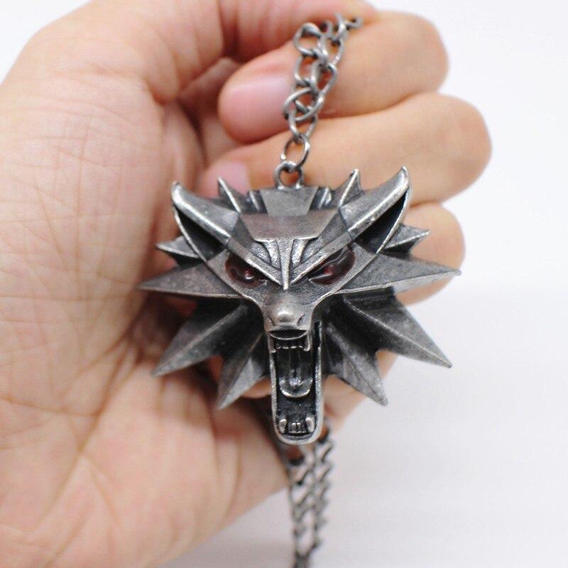 Collar con colgante de cabeza de lobo, cadena de eslabones de Metal...