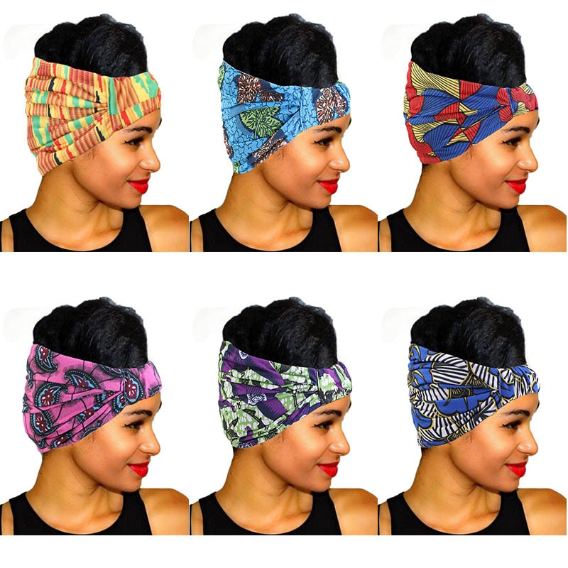 African Print Stretch Cotton Headband for Women Elastic Headwear Turban Head Scarf Ladies Bandage He