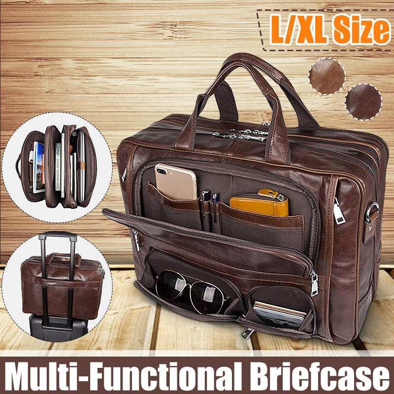 Men's Retro Leather Briefcase Business Handbag Large Capacity Multi-pocket Waterproof 15.6-inch Laptop Travel Bag Satchel Gift