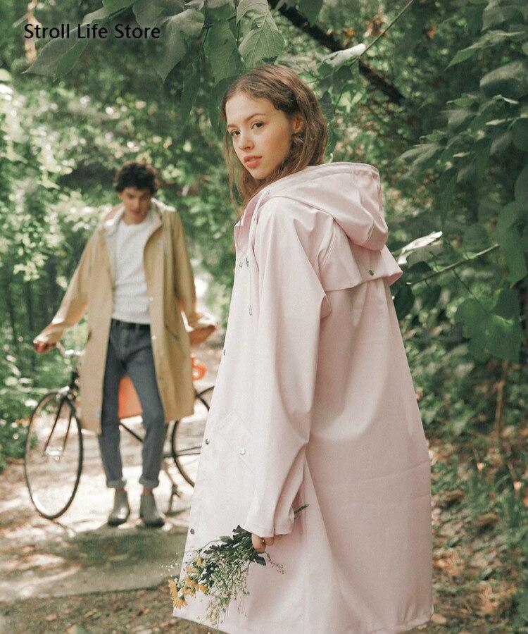 Moda casaco de chuva longo casaco de chuva feminino corpo impermeável blusão adulto caminhadas chuva poncho masculino trench coat presente