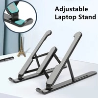 laptop stand with cooling fan foldable portable adjustable desktop notebook stand for macbook air pro phone ipad tablet bracket