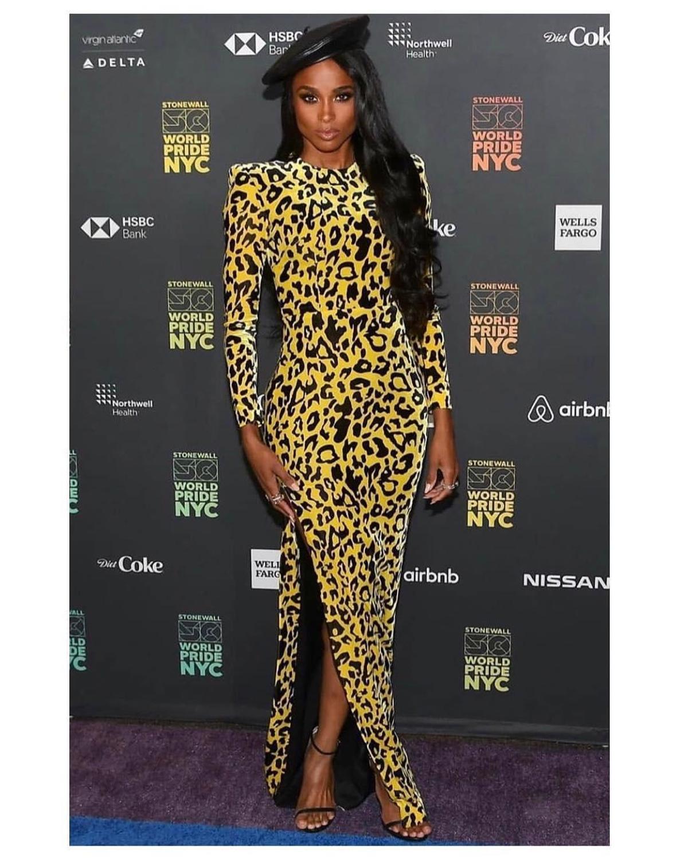 Vestido de fiesta de noche de manga larga, estampado de leopardo, amarillo, de alta calidad