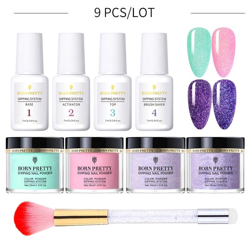 BORN PRETTY-Kit de adornos para uñas, adornos Nail Art con purpurina Natural, polvo de 9 Uds.