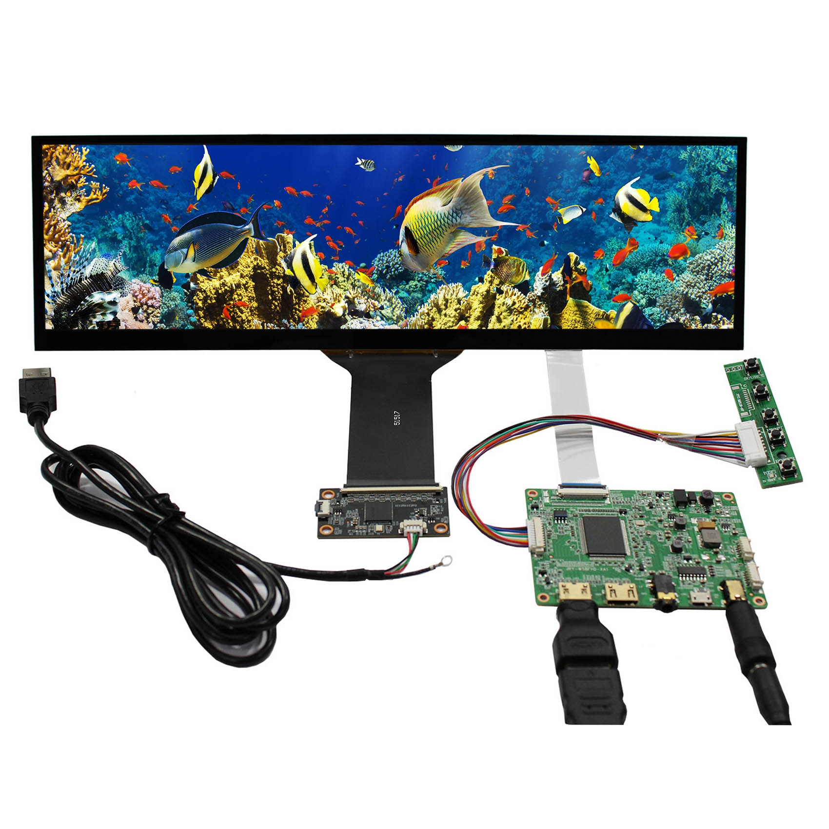 VSDISPLAY NV126B5M-N41 12.6 بوصة 1920X515 IPS شاشة لوحة اللمس مع 2HDMI وحدة تحكم بشاشة إل سي دي صغيرة مجلس ل سيارة رصد/شريط العرض