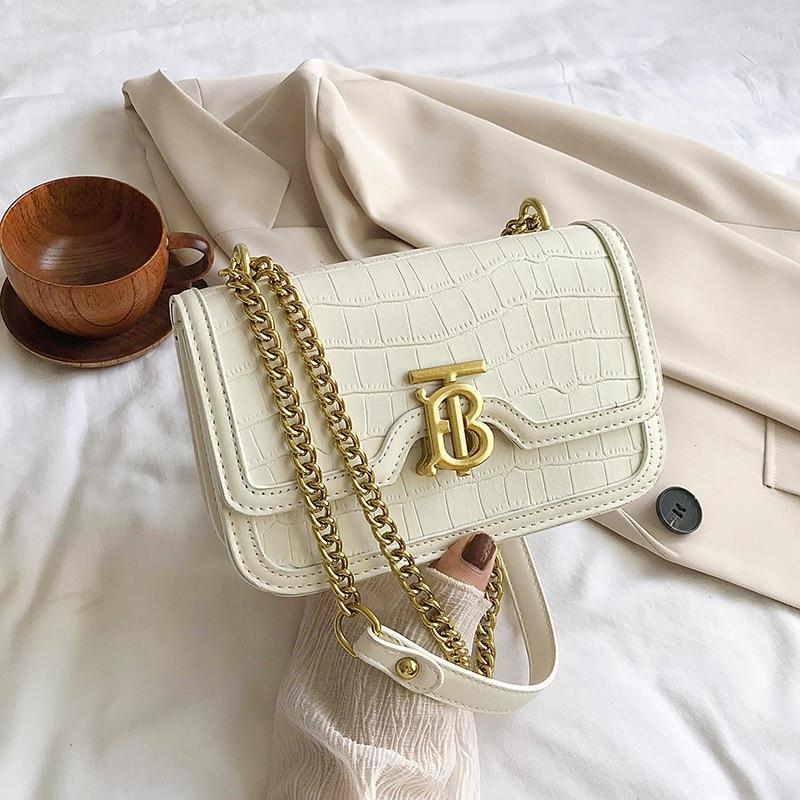 Solid Color Stone Pattern Crossbody Bag for Women 2020 New Trend Popular Girl's One Shoulder Messenger Chain Bag Borse Da Donna