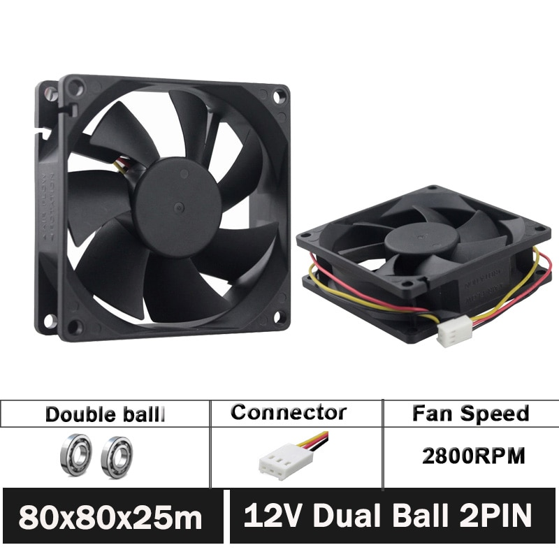 20pcs/set Gdstime DC 12V 80mm x 25mm 3pin 3.15inch 8025 80mm 8cm Cooler Fan With FG Function For Computer CPU Cooling