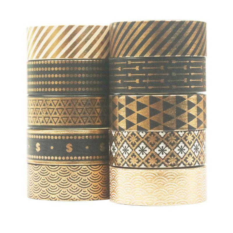 10Rolls/Set Black Gold Foil Washi Tape Set Paper Festival DIY Scrapbooking K3KB