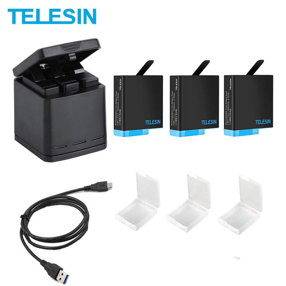 TELESIN 3 Slots LED Battery Charger Storage Box + 3 Battery Pack + Type C Cable for GoPro Hero 5 6 7 8 Camera Accessories telesin 3 way led battery charger 3 battery pack charging box type c cable for gopro hero 8 7 6 hero 5 black accessories set