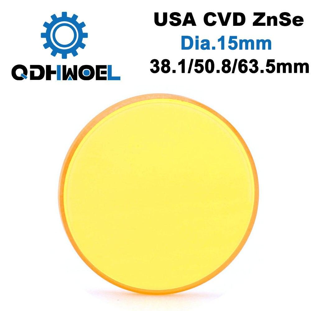 Eua cvd znse lente de foco do laser diâmetro 15 fl 38.1 50.8 63.5mm foco para co2 gravação a laser máquina corte
