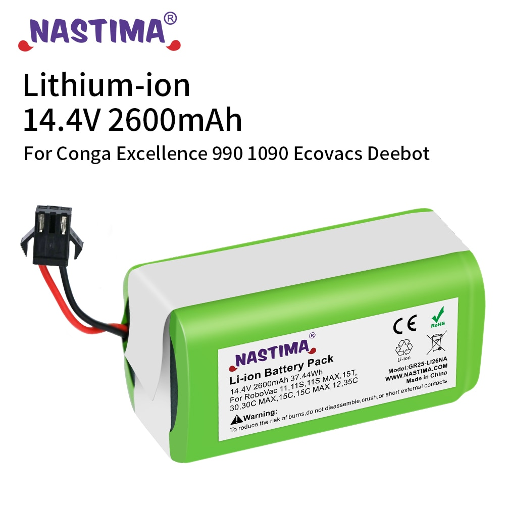 14.4V 2.6Ah Li-ion battery for Cecotec Conga Excellence 950 1092 Ecovacs Deebot DN621 601/605 Eufy RoboVac 35C Panda i7 V710