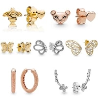 hot ear studs vintage allure radiant butterfly plum flower bee lion crystal high quality earring with women wedding jewelry