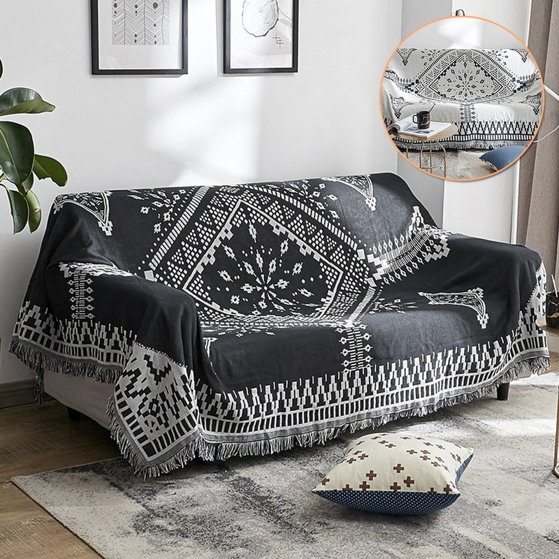 Manta para lanzar sofá geométrico, alfombra sencilla, tapiz negro y blanco, toalla lateral para sofá, manta de punto, colcha, textil para el hogar
