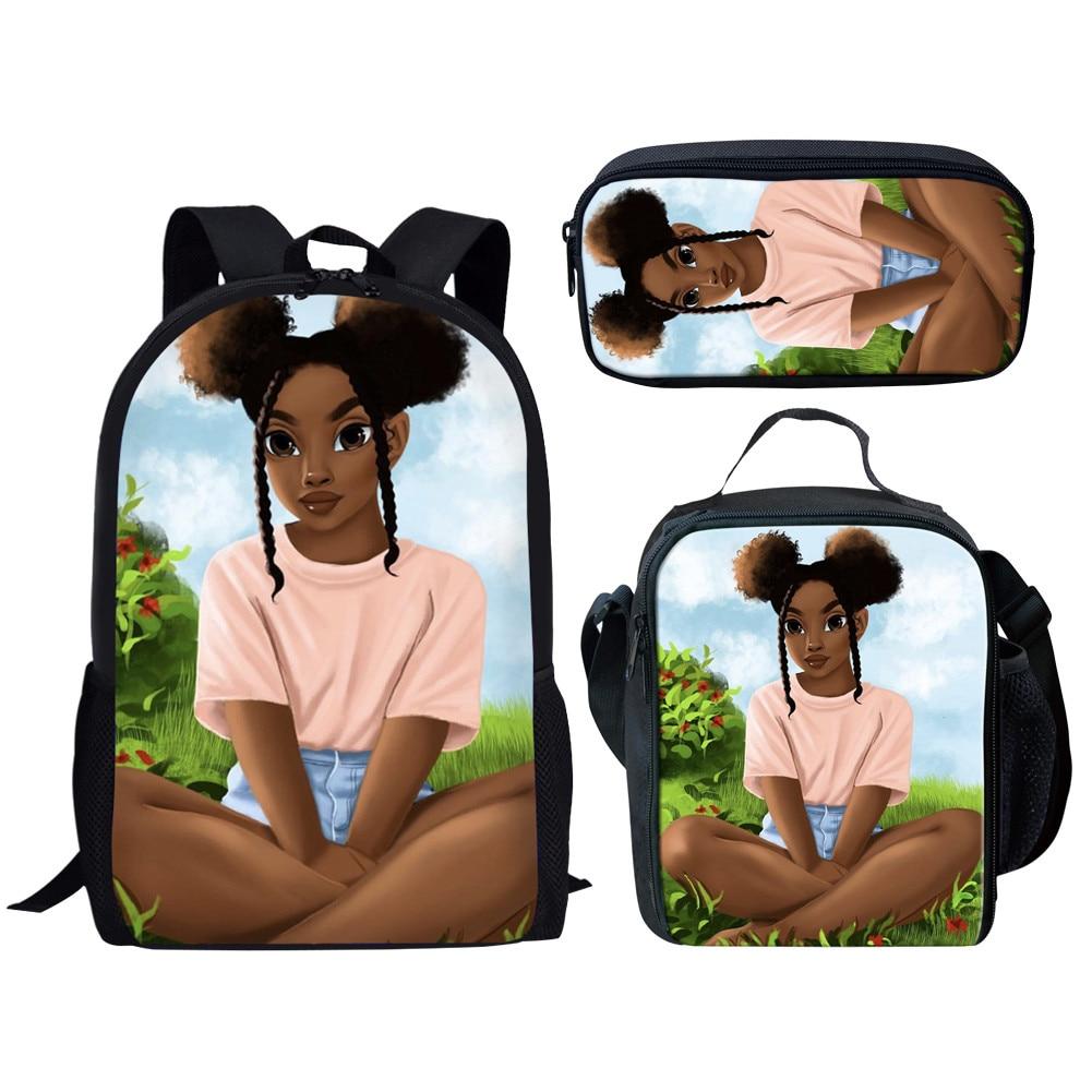 3Pcs/set School Bags for Kids Girls School Backpacks Shoulder Bagpack Black Girl Cartoon Children Bookbag Satchel