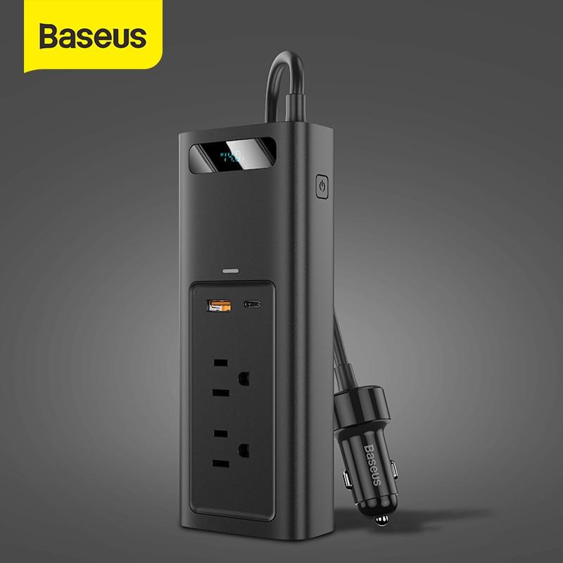 Baseus سيارة العاكس 12 فولت تيار مستمر إلى 110 فولت التيار المتناوب 150 واط السيارات السلطة Inversor مع نوع C شحن سريع للسيارة محول الطاقة الملحقات