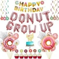 donut theme birthday party decorations balloons cake topper donut banner swirls donut balloon star foil latex balloons