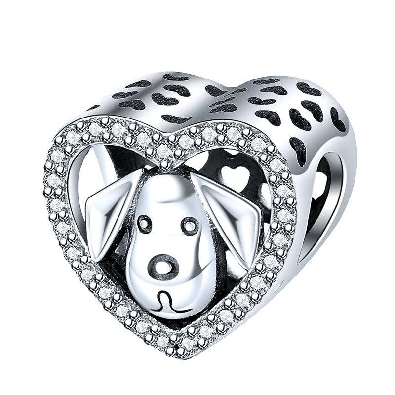 Novo 925 sterling silver StrollGirl Cão Bonito Encantos Grânulos de Coração com Pedra Fit 3mm Pulseira para As Mulheres da moda Jóias presentes