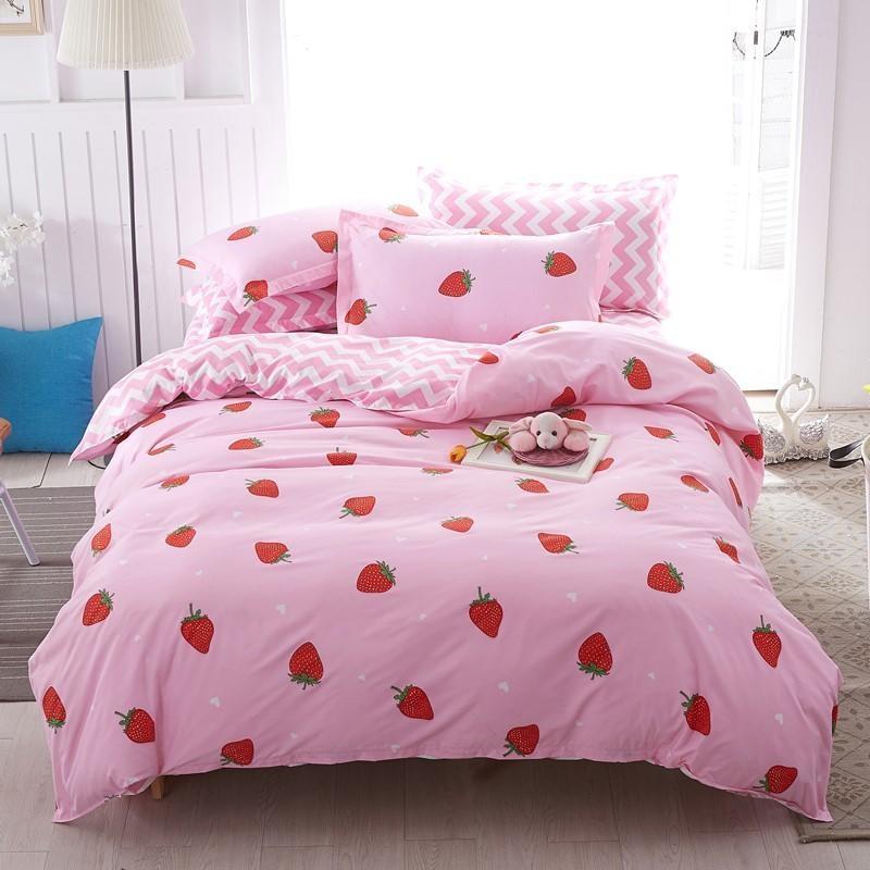 Solstice المنسوجات المنزلية الوردي طقم سرير لفتاة طفل في سن المراهقة سرير ورقة الفراولة حاف غطاء لحاف المخدة شريط غطاء سرير