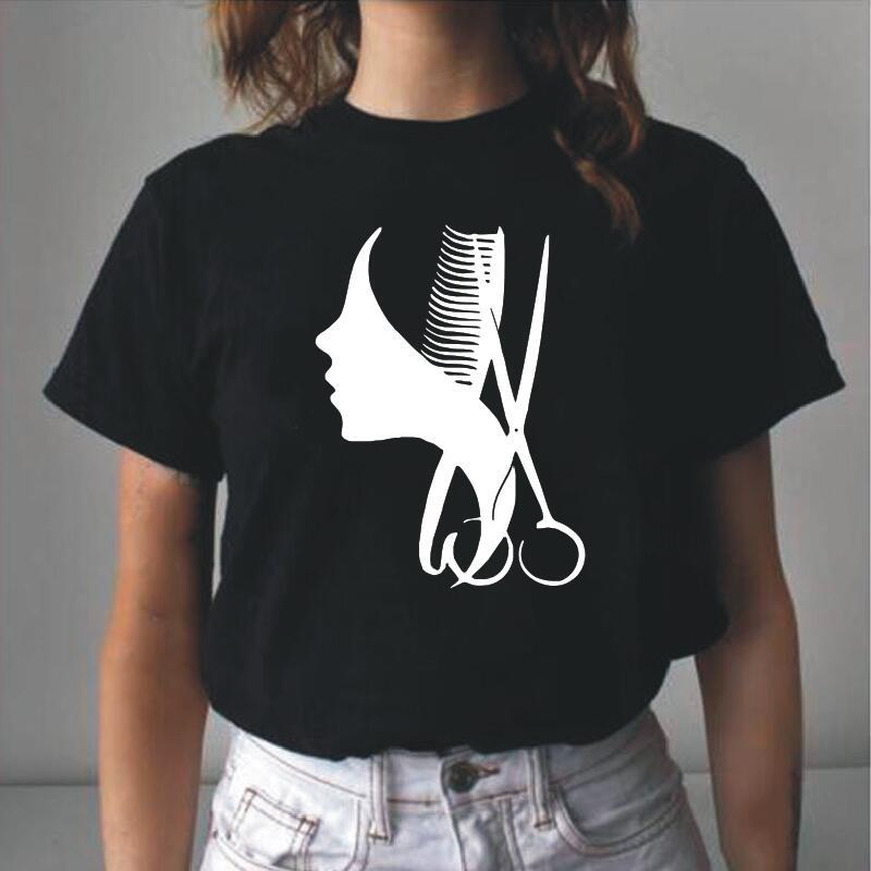 Camiseta con estampado De tijeras para Mujer, ropa De manga corta para salón De belleza y barbería, Tops De verano, Harajuku