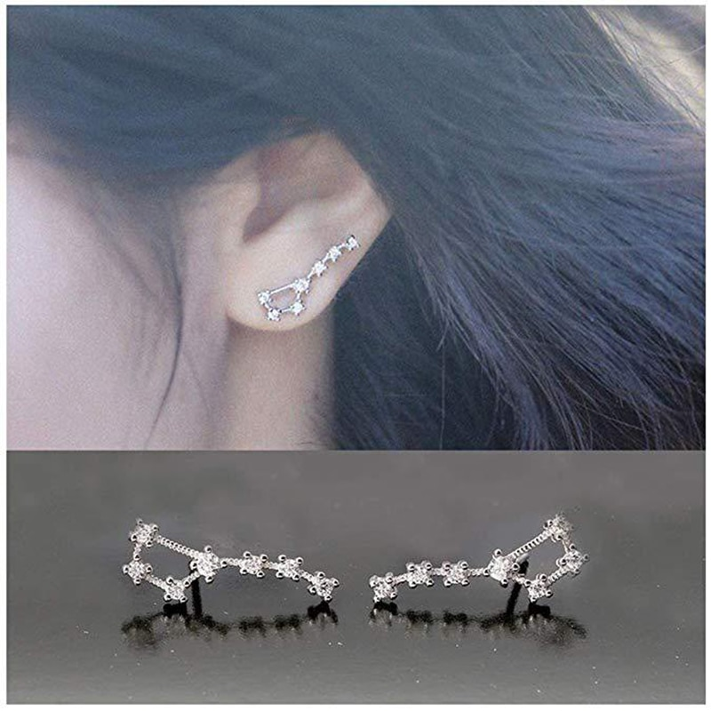 Elegante dipper em forma de clipe brincos deslumbrante 7 cristal zircônia brincos para womenfancy festa moda jóias presente o4d503